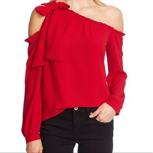 CeCe Off Shoulder Bow & Ruffle Top